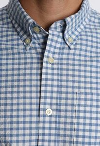 JACHS - Blue Gingham Stretch Seersucker Shirt/L